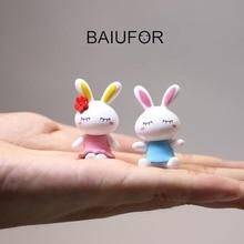 BAIUFOR Animals Couple Mini Cartoon Rabbit Lover Action Figures Fairy Garden Miniatures Terrarium Figurines Desktop & Home Decor