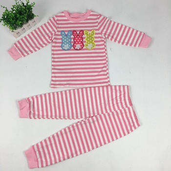Puresun Wholesale Baby Gir Boy Easter Day Pajamas Sets Children Bunny Embroidery Kids Wear Boutique Easter Stripe Pajamas Set