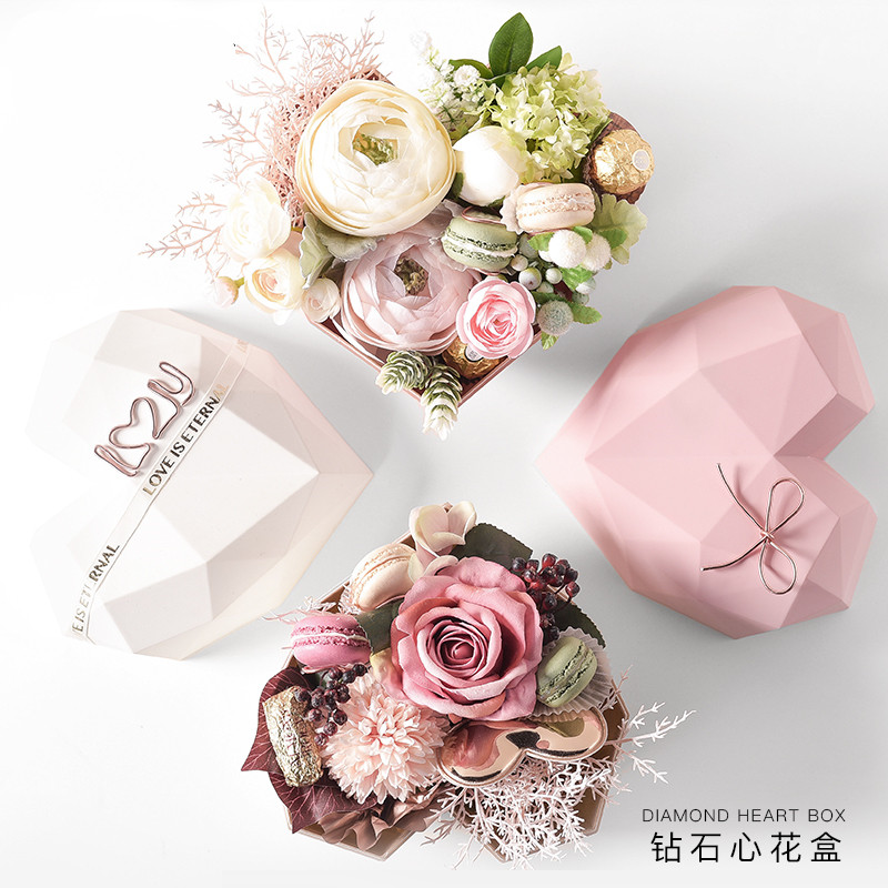 Ins Style High-end Birthday Gift Diamond Heart Shape Flower Box Rose Gold Color Inner Flower Packaging Box