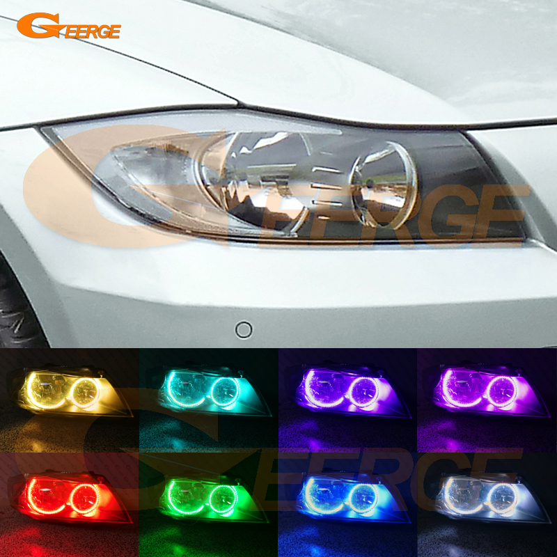 For BMW 3 Series E90 E91 2005 2006 2007 2008 Halogen headlight Excellent Multi-Color Ultra bright RGB LED Angel Eyes kit 4x xenon rgb remote multi color led angel eyes kit for bmw e90 2006 2008 e60