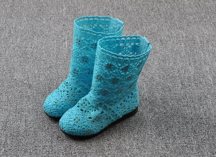 (A241)18 Classical Kids Shoes Summer Girls Boots Knitting Hollow Children Shoes Fashion Network Boots For Girls 20