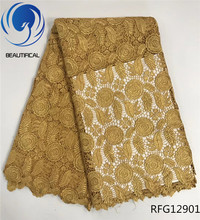 BEAUTIFICAL Cord guipure lace fabric Gold Embroidered flowers Guipure Nigerian women for dress 5yards RFG129