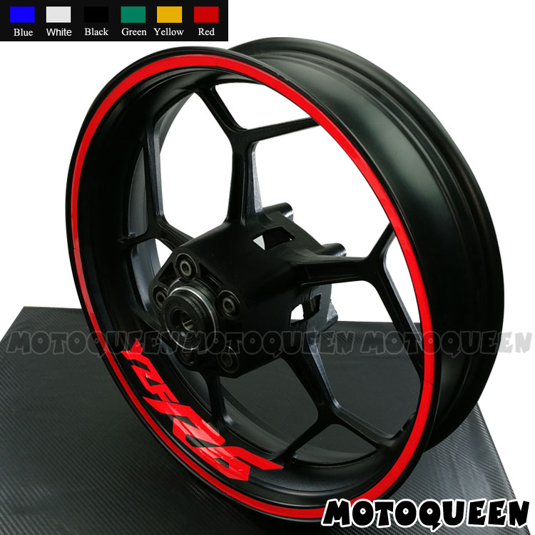 17Inch Strips 8 X Custom Iner Rims Decals Motorcycle <font><b>Wheels</b></font> Reflective <font><b>Stickers</b></font> Stripes Motor Bike For <font><b>YAMAHA</b></font> YZF R1 R3 <font><b>R6</b></font> YZFR6 image