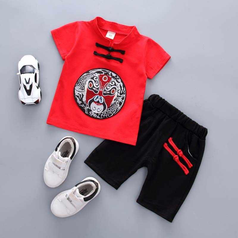 Baby Clothes For Boys Short Sleeve Chinese Style Printed T-Shirt Tops+Shorts Casual Outfits Baby Clothing Sets