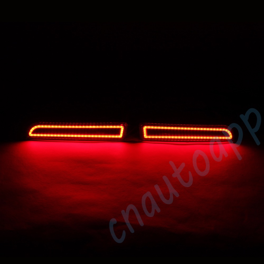 LED Rear Bumper Warning Lights Car Brake Lamp COB Running Light  For  Mitsubishi Lancer EX  2008-16 (One Pair) 1 pair dc 12v car warning lights red rear bumper light 5w led lights