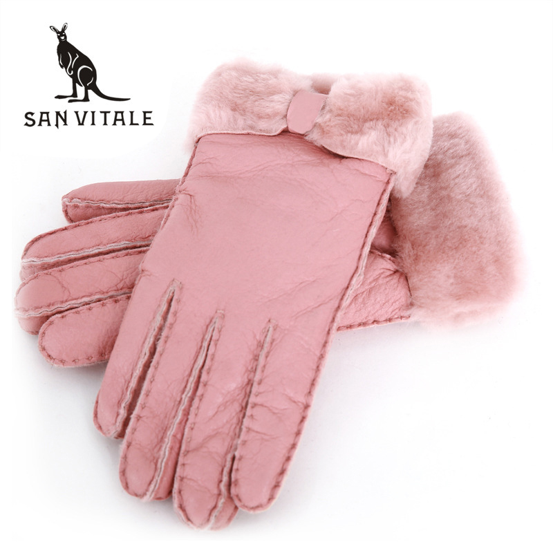Winter Gloves Women New Designer Heavy Type Real Leather Wool Fur Gloves Lovely Girls Sheepskin Leather Very Warm Winter Mittens