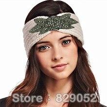 Блестящая бисерная вязаная шерстяная повязка на голову для женщин девочек цветок тюрбан ободки головной убор зимние наушники теплые аксессуары для волос