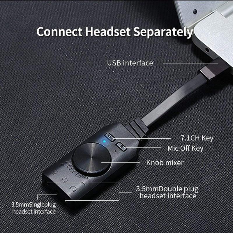 Interface de áudio usb virtual 7.1 canais adaptador de áudio usb placa de som adaptador 3.5mm mic e áudio livre unidade uma chave 7.1 ch emc