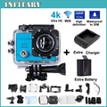 "2 xBattery + Зарядное Устройство Действий Камеры 4 К Ultra HD SJ9000 WI-FI 16MP 2.0 ""ЖК 170' зрения объектива Дайвинг 30 М Водонепроницаемый Шлем Спорта Камера"