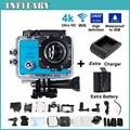 """2 xBattery + Carregador Câmera Ação 4 K Ultra HD SJ9000 WI-FI 16MP 2.0 """"LCD 170' vista lente de Mergulho 30 M À Prova D' Água Esportes Capacete Cam"""