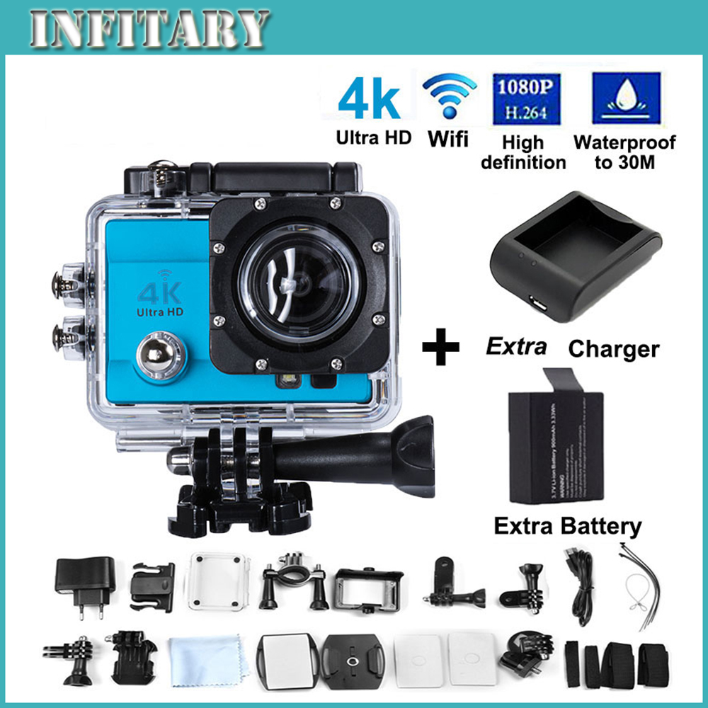 "2xBattery+Charger Action Camera 4K Ultra HD SJ9000 WIFI 16MP 2.0"" LCD 170' view lens Diving 30M Waterproof Helmet Sports Cam"
