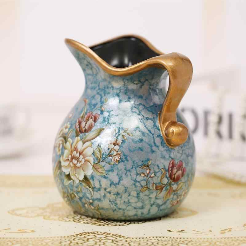 Modern Luxury simple mesa of painting of flowers and birds in vase ceramic  small milk pot process home decoration