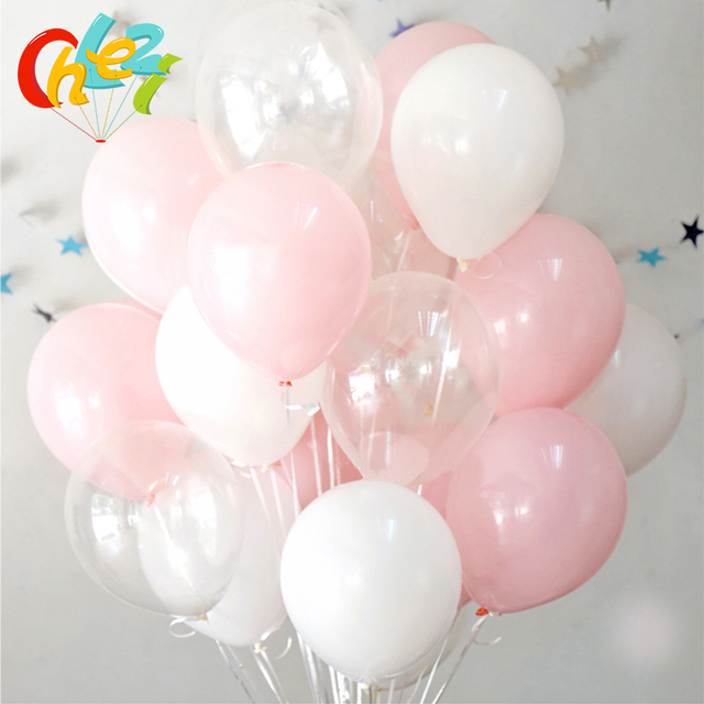 30Pcs/lot Pink Clear White Round Ballons Transparent Balloons Latex Helium Float Birthday Party Baby Shower Wedding Decor Balls