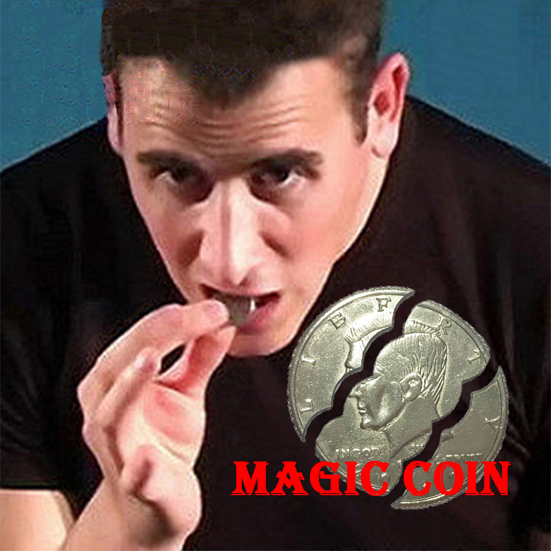 New Hot Two Fold Bite Coin Dollars Magic Close-Up Street Magic Tricks Prop Bite Coin And Bite Currency Restore Half Illusion