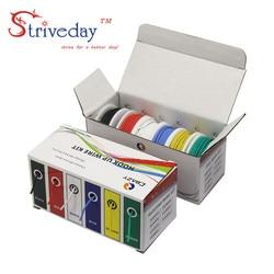 60 meters/box 30 AWG 10 metros cada color de silicona Flexible de alambre de cobre estañado Kit de Línea 6 colores DIY