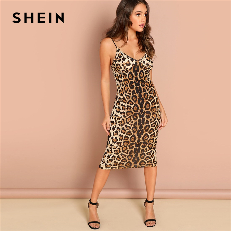 SHEIN Multicolor Sexy Party Backless Leopard Print Cami Ärmel Bleistift Dünne Club Kleid Herbst Nacht Heraus Frauen Kleider