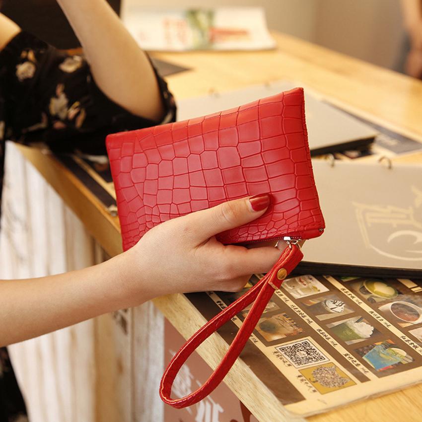 Women's latest fashion crocodile pattern mini clutch bag retro PU leather zipper mini wallet handbag Embossing phone bag #F