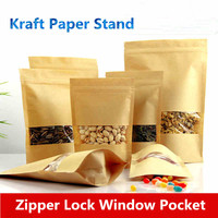 Organizer Organizador Shopping Display Zip Lock Grip Bag Food Sacola De Papel Transparent Stand Ziplock Kraft Bags Square Window