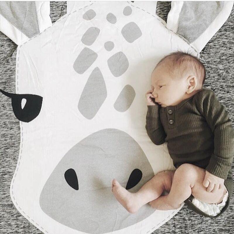 Kids Play Game Mats Round Carpet Rugs Mat Cotton Giraffe Crawling Blanket Floor Carpet For Kids Room Decoration Baby Gifts 90cm