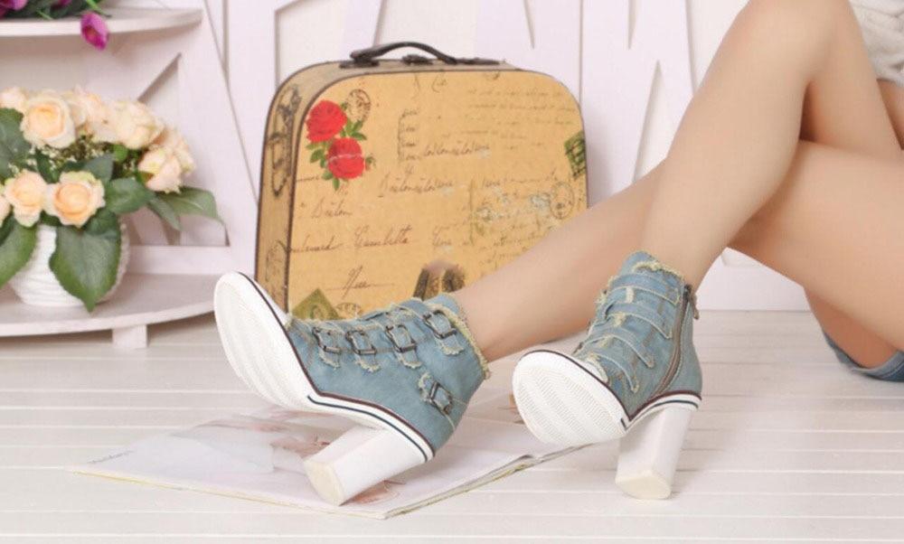 Dekoration Kncokar2018new Casual Version Mode Himmel Zipper Koreanische Schuh Heels Metall blau Schuhe Denim High Super rIIRqZ