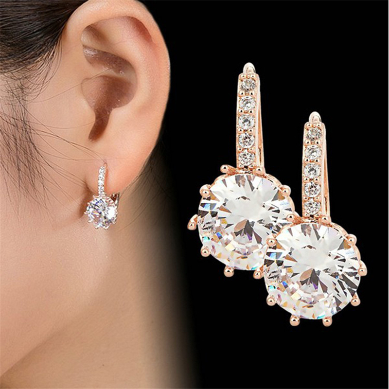 2019 New Arrival Genuine Gold Women's Crystal Stud Earring Holder Ear Cuffs Earrings For Women Femme Pendientes Brinco Ouro Gift