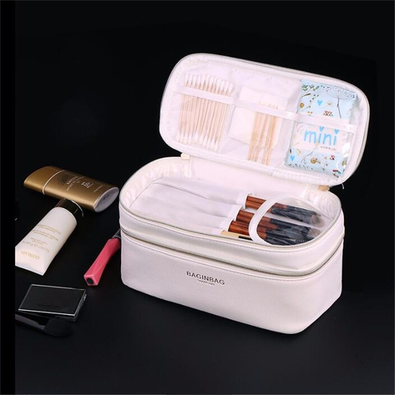 Baginbag Double Layer Cosmetic Bag Cross PU Cosmetics Multifunctional Make Up Makeup Bag Toiletry Bag trousse maquillage femme 3