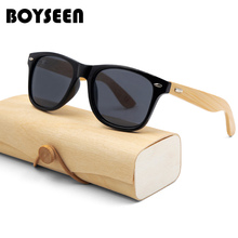 BOYSEEN Retro Wood Sunglasses Men Bamboo Sunglass