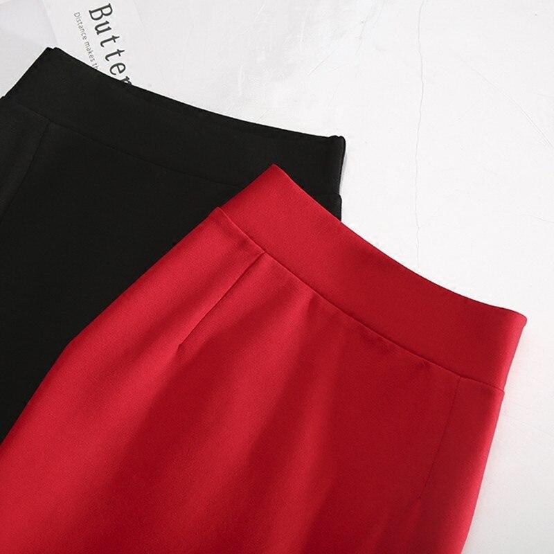 LE CELEBRE Patchwork Midi Women Skirt 2018 Black Red Casual Skirts High Waist Lace Skirts Saias Na Altura Do Joelho