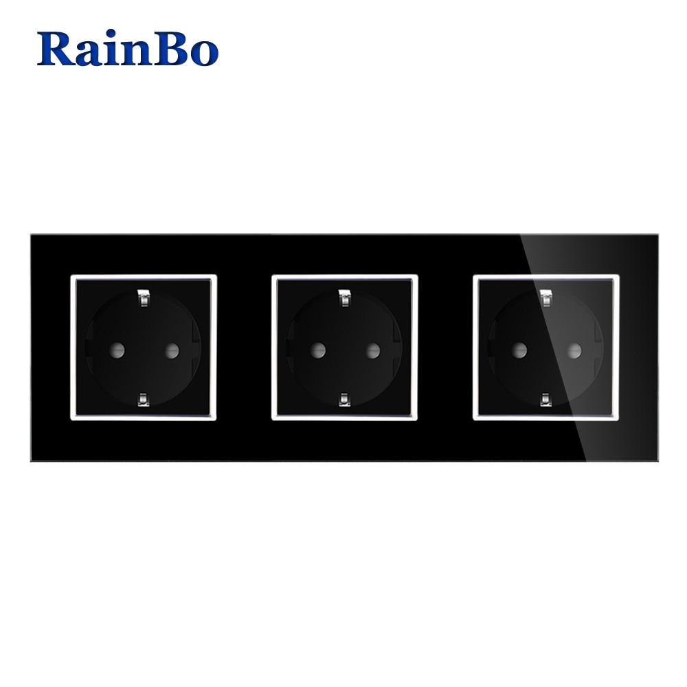 цена на RainBo Brand Manufacturer Wall power Socket EU Standard Crystal Glass Panel AC 110~250V 16A 222*80mm Wall Socket A38E8E8EB