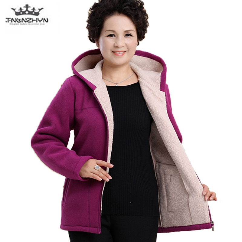 Middle-aged Autumn Fleece Outerwear 2018 Plus size 5XL Slim Hooded Women Jacket Solid color Warm Casual Short Winter Jacket Coat