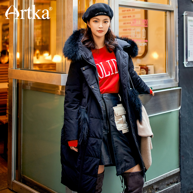 ARTKA New City Series Winter 90% White Duck   Down   Black Long Warm Thick   Down     Coat   ZK10377D