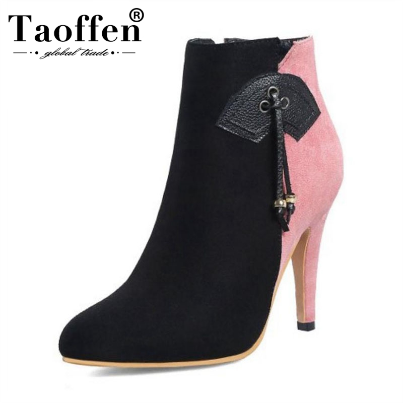 TAOFFEN Winter Shoes Ankle-Boots High-Heels Mixed-Color Sexy Plus-Size Women 28-52 Zip
