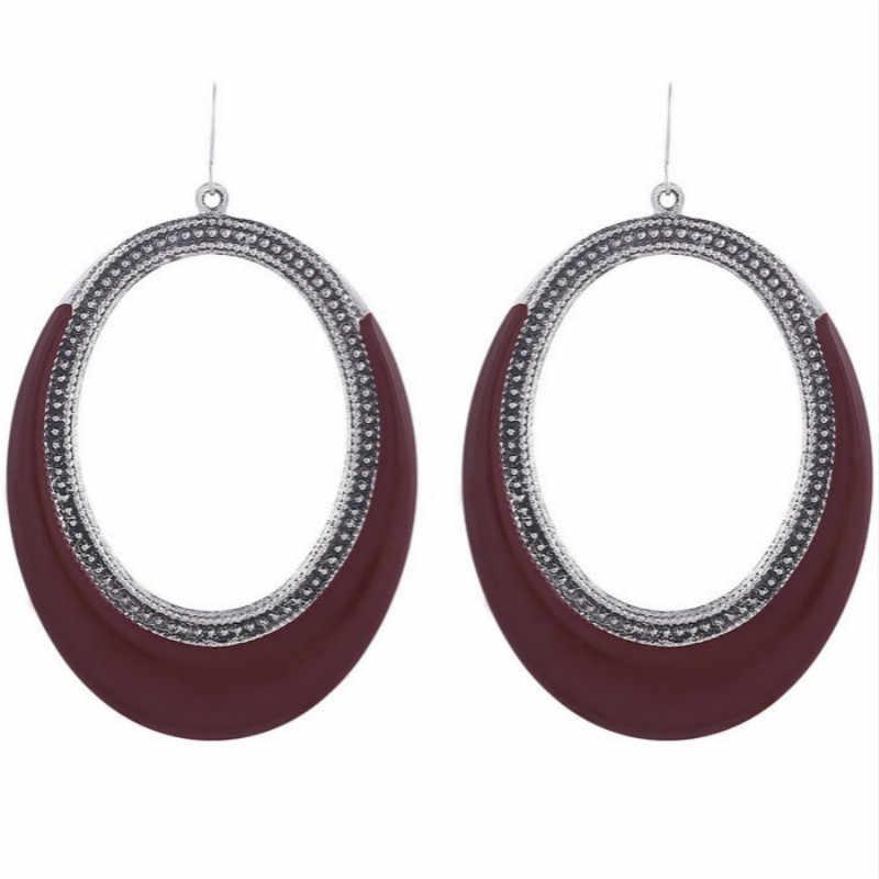 2019 New Dangle Ellipse Enamel Red Earrings Women Long Geometric Unique Big Earrings Pendientes Bijoux Boucle D'oreille Femme
