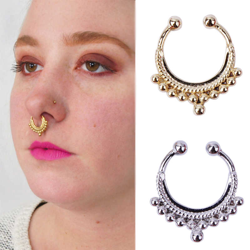 Gold Color Fashion Piercing Fake Septum Nose Rings Women Men Girls 16g 8mm Clip On Hoop Nose Body Jewelry Clip On Hoop Fake Septumseptum Nose Rings Aliexpress