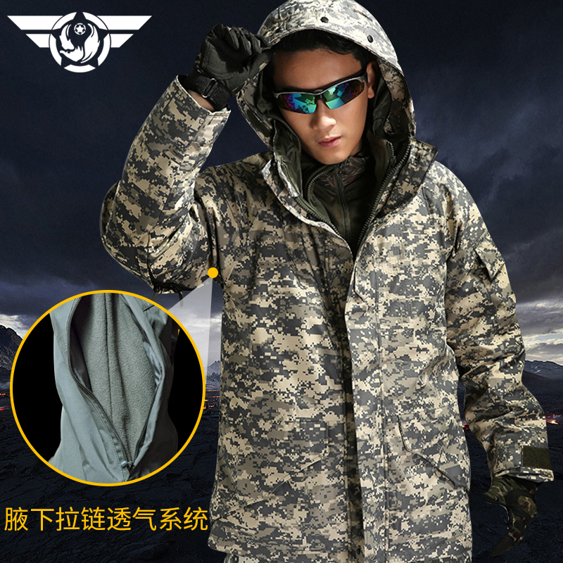 Outdoor men shell+Liner Two pieces set thermal waterproof windproof hiking camping printing camouflage Tactical charge jacket lurker shark skin soft shell v4 military tactical jacket men waterproof windproof warm coat camouflage hooded camo army clothing