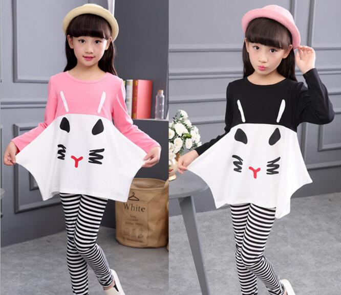 Girls Cartoon Cat Suits Newest Children Spring Striped Long Sleeve Tops + Long Pants Two Pieces Sets Casual Clothes Sets
