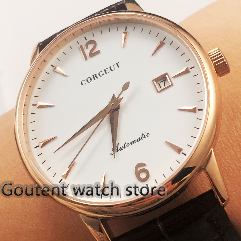 40mm Debert Newest Dial White Gold Rose Sapphire Glass Automatic Watch For Men