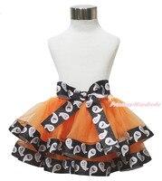 Halloween Ghost Orange Trimmed Tutu Dance Dress Baby Girl Pettiskirt Skirt NB 8Y