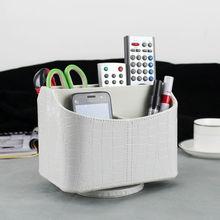 5-слот дома вращающегося рабочего стола кожаный хранения box дело организатор для пульта дистанционного управления косметика макияж разное 257D