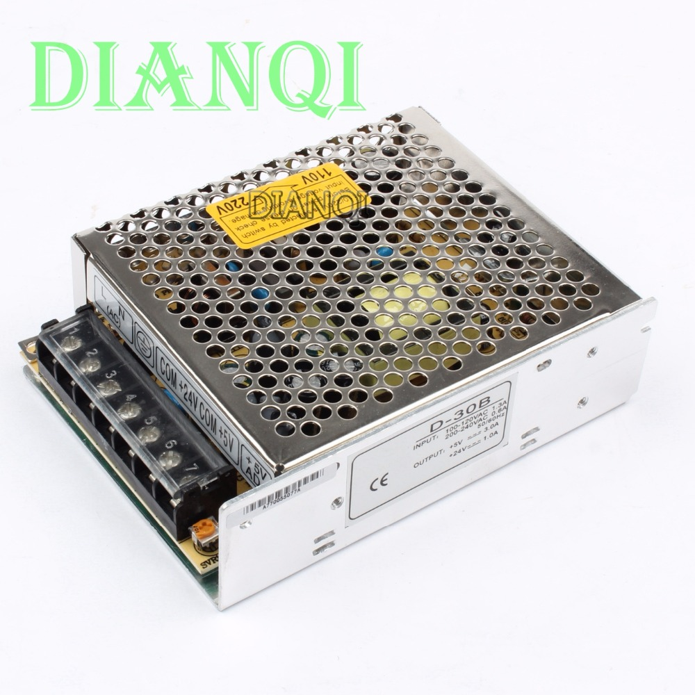 dual output power supply 30w 5v 24v power suply D-30B ac dc converter good quality dianqi dual output switching power supply 30w 5v 12v 24v power suply d 30a ac dc converter d 30b d 30c