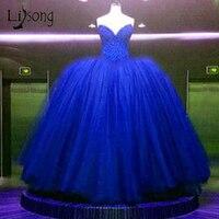 Принцесса Royal Blue пышные Свадебные платья Блестящие Роскошные бальные платья Свадебное платье индивидуальный заказ Дубай Vestido De Noiva