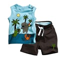 Kids Children's Sets Clothes Tops+Pants Boys Coconut Tree Style Sleeveless Outfit 0-3Y