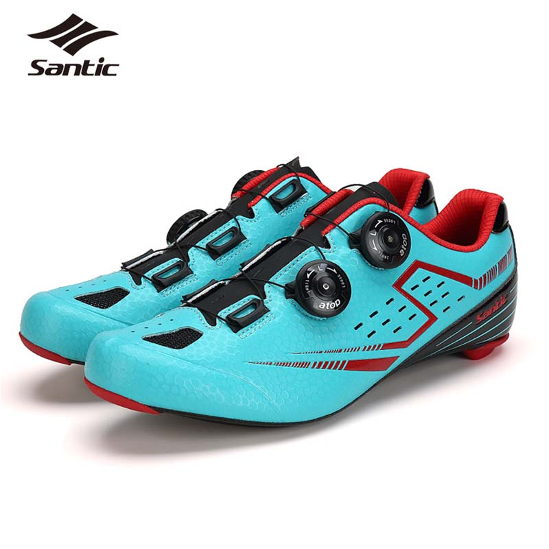 Santic Men Cycling Shoes with Carbon Fiber Outsole Self-locking Athletic Road Bike Shoes Bicycle Brand Shoes Zapatillas Ciclismo santic new design cycling shoes men outdoor road bike shoes self locking shoes non slip bicycle shoes sapatos with 3 colors