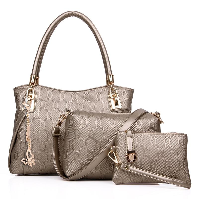 New 2017 women handbags leather handbag women messenger bags ladies brand designs bag bags Handbag+Messenger Bag+Purse 3 Sets bear grylls survival hatchet