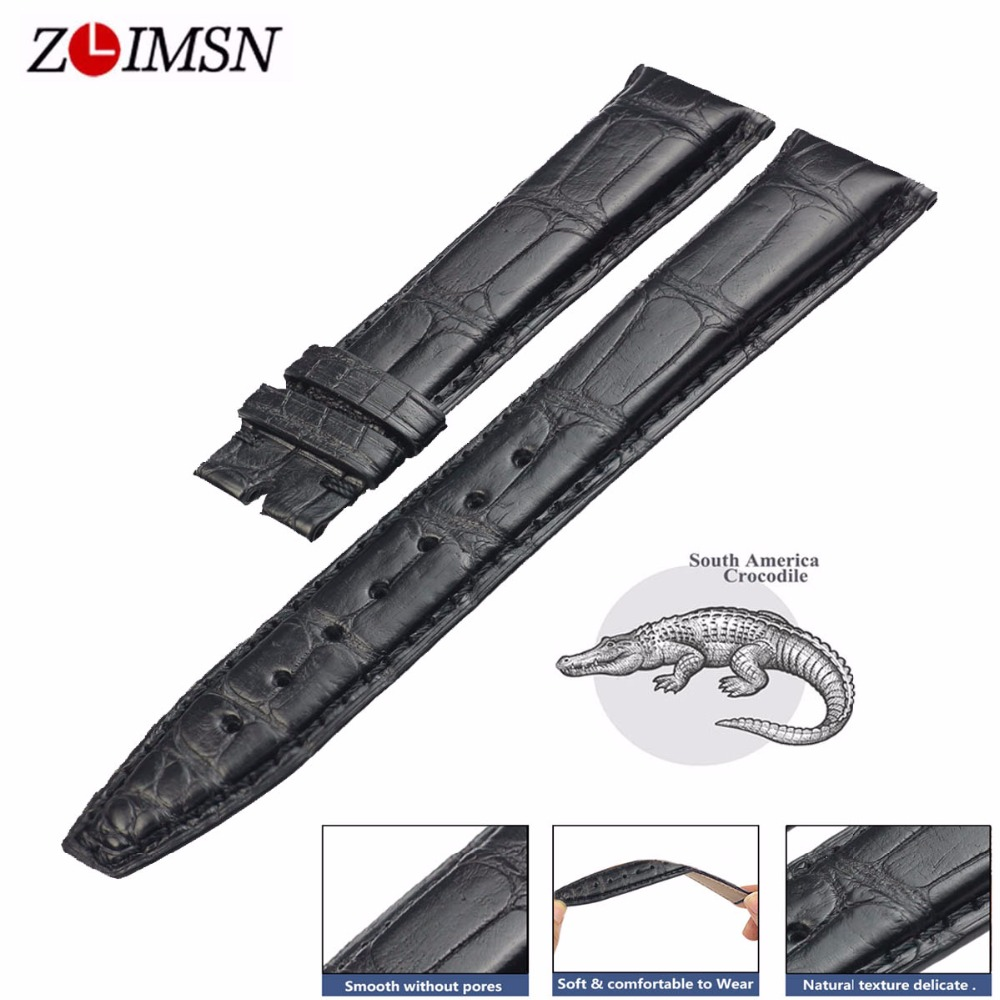 ZLIMSN Black Vintage Crocodile Leather Watch Band High Quality 12mm-26mm For Mens Women Suitable For Apple Watch With 38mm-42mmZLIMSN Black Vintage Crocodile Leather Watch Band High Quality 12mm-26mm For Mens Women Suitable For Apple Watch With 38mm-42mm