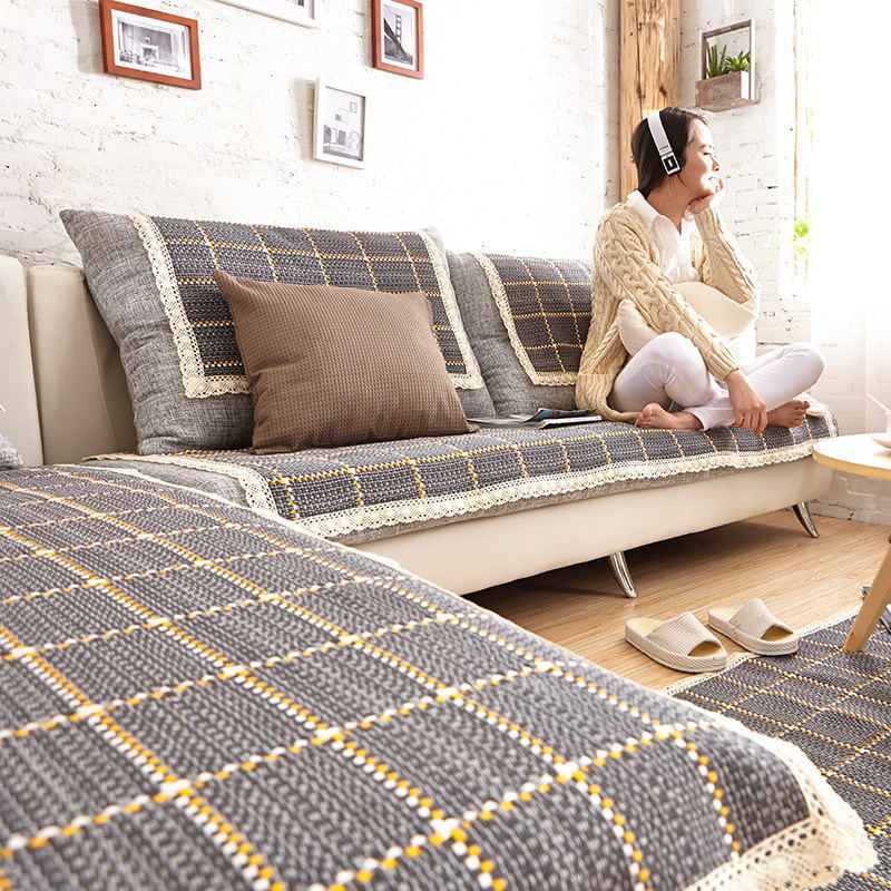 Fashion Pastoral Style Cotton Plaid Sofa Cushion L Shaped Sofa Cover Slip  Resistant Thickening All Combination Package In Sofa Cover From Home U0026  Garden On ...