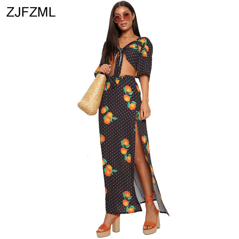 ZJFZML Black White Ploka Dot Sexy Two Piece Dress Women Half Sleeve V Neck Orange Print Beach Dress Summer Side Split Maxi Dress