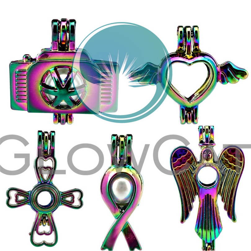 Rainbow Camera Heart Angel Wings Cross Cancer Ribbon Beads Cage Jewelry Making Perfume Diffuser Stone Pearl Cage Locket Pendant