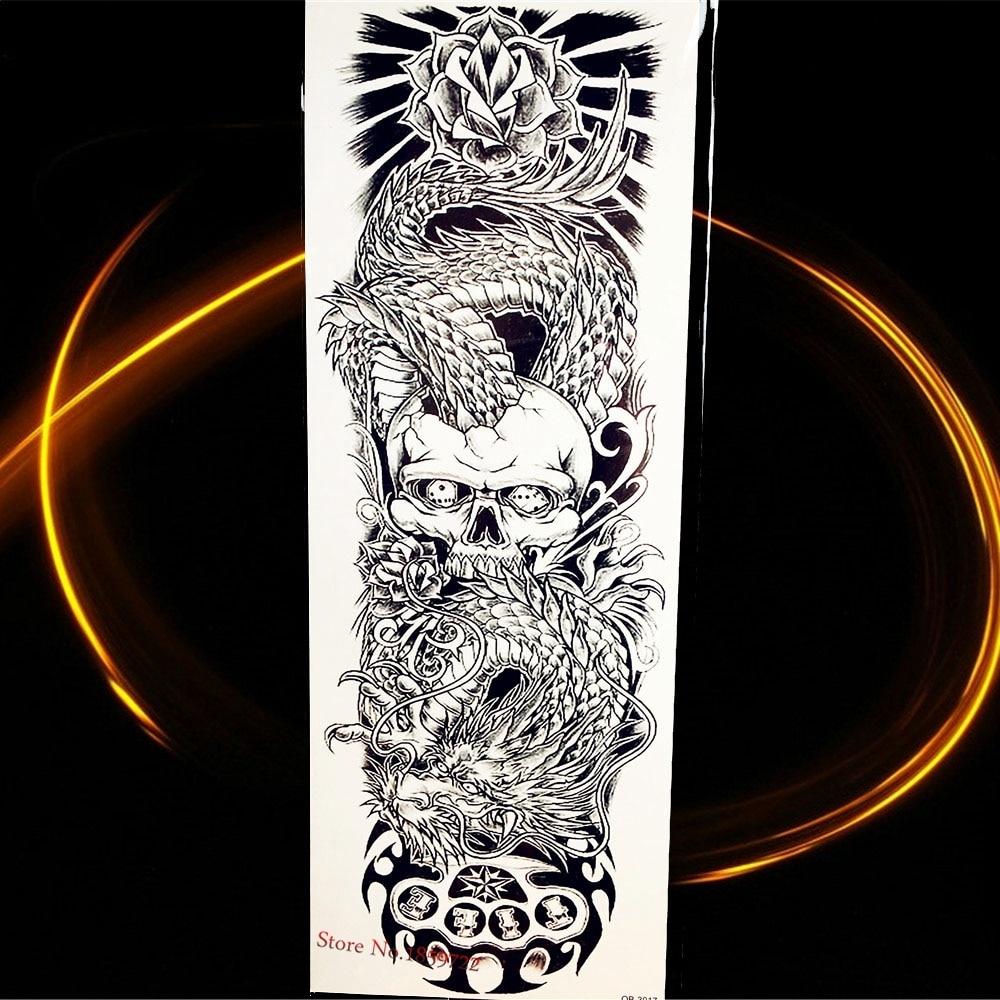 1 Piece Temporary Tattoo Sticker Water Transfer Wing: Black Temporary Tattoo Stickers Dragon Flower Skull Water