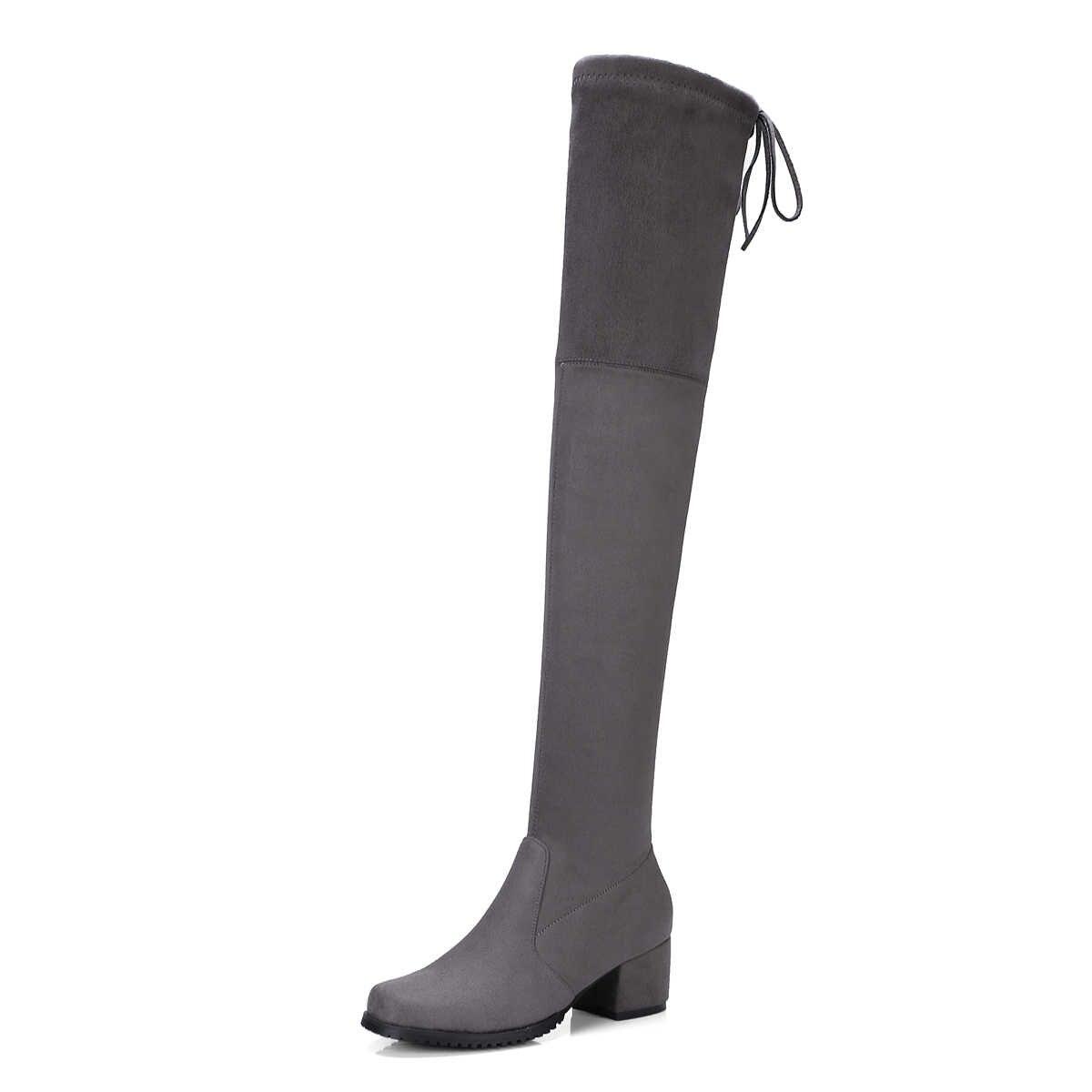QZYERAI/Новое поступление, высокие сапоги до колена на среднем каблуке женские сапоги с тонким ремешком модная женская обувь Европейский сексуальный стиль
